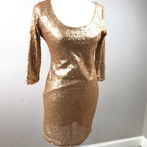 Crystal Doll Gold Sequin Dress Long Sleeve Scoop L